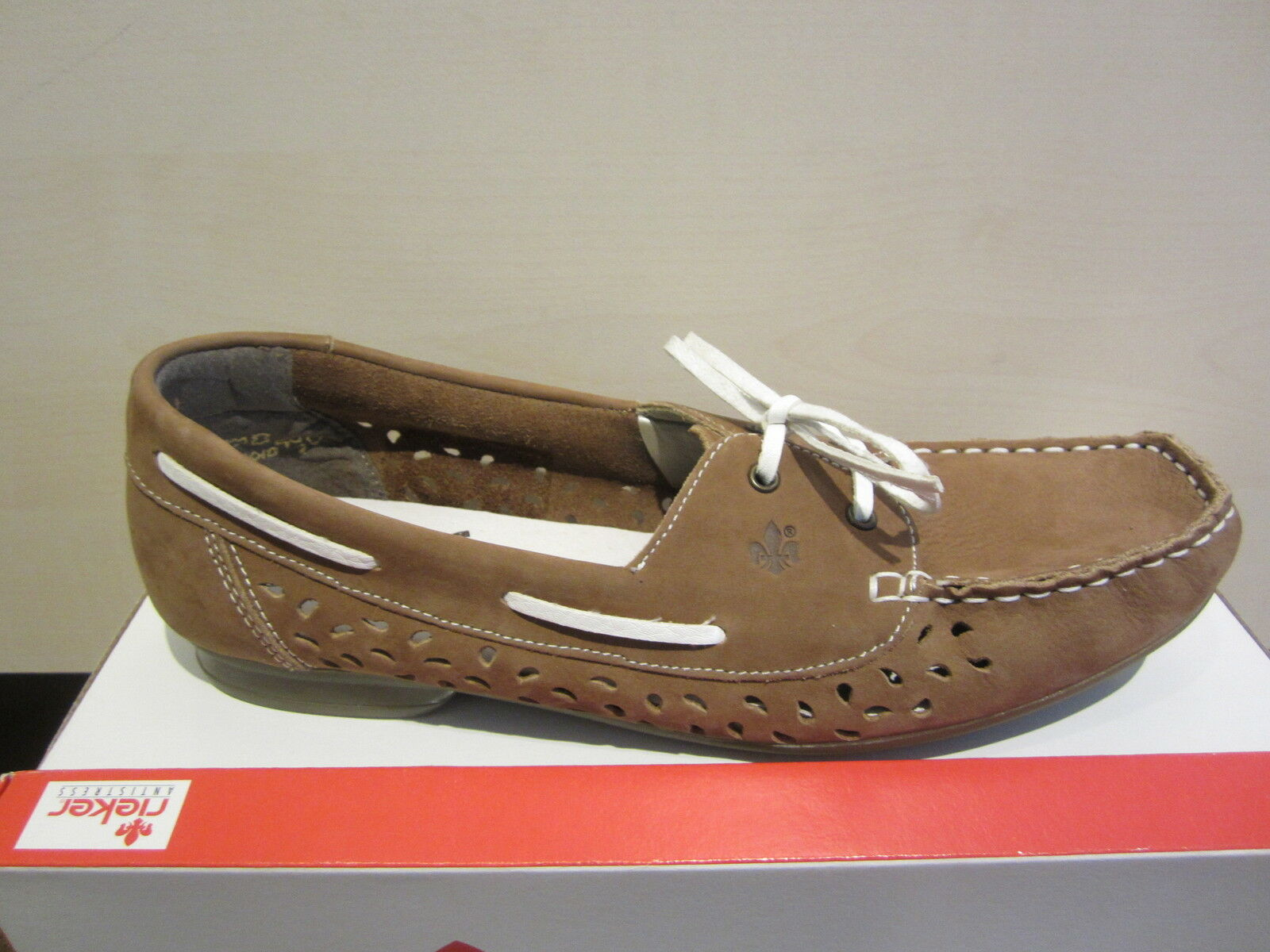 Rieker Lace Up   Slippers Leather Leather Leather with Soft Leather Insole, Brown NEW 521d23