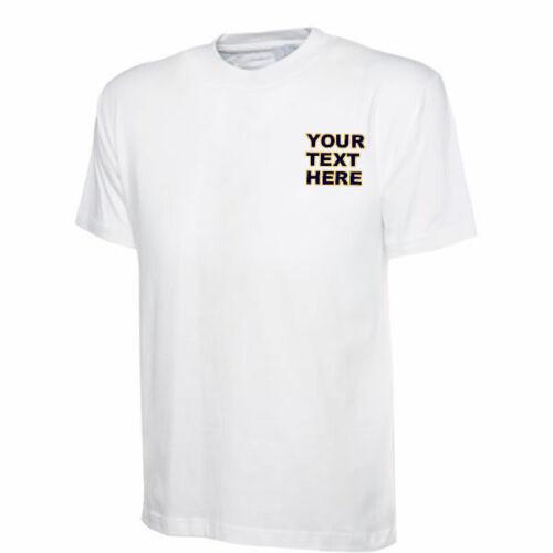 Uneek Classic T-Shirt UC301 personalizado de texto personalizado impreso en el pecho izquierdo