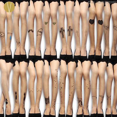 TATTOO PRINT TIGHTS 20D Women's Fashion Harajuku Cute Sexy Fake Print Pantyhose