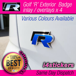 Golf-R-MK7-amp-MK7-5-logo-Badge-x-4-overlay-Decal-Overlay-Sticker-Set