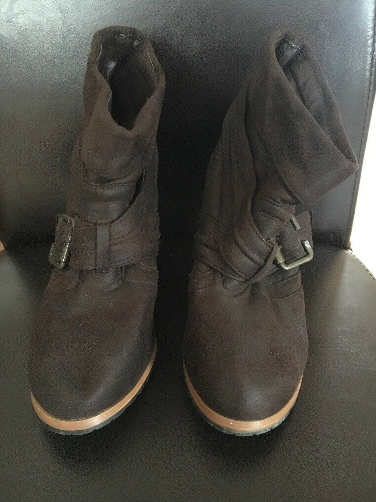 women ladies high heel boots ankle Brown Suede Size 6 <T16624