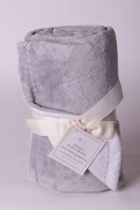 NWT-Pottery-Barn-Kids-Chamois-solid-gray-stroller-baby-blanket-crib