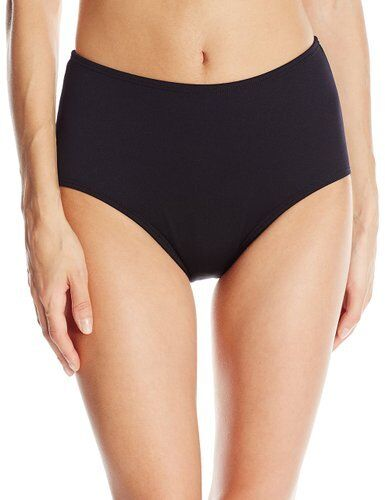 TYR WOMENS SOLID HIGH WAIST SWIM BIKINI BOTTOMS PANT BLACK SIZE 10 NEW $35