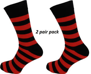 Mens-2-Pair-Pack-Black-Red-Striped-Retro-Socks