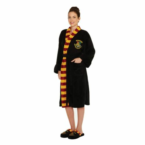 Gown Dressing Bathrobe Crest Ladies Adult Potter Official Harry Hogwarts Black w4vq8xCS