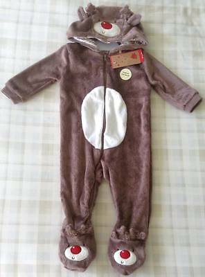 Baby Plush Reindeer All In One Babygrow Outfit//Xmas Fancy Dress//Costume 6-9 mths