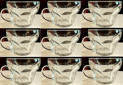 (10) Heisey Punch Cups Pattern 1103 Clear in Perfect Condition Handblown Handles