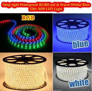 Tira-de-LED-220-V-240-V-IP67-Impermeable-5050-Luces-comercial-Cuerda-Blanco-Calido-Azul