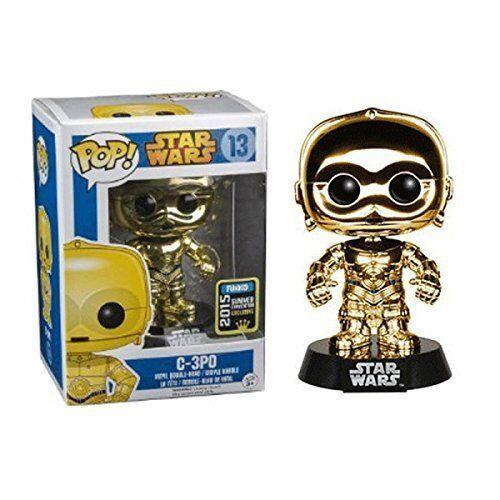 Exclusivo Cromo oro C-3PO (Estrella Wars) Figura de vinilo Funko Pop