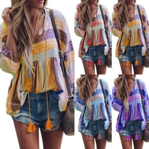 Womens-Boho-Printed-Summer-V-Neck-T-shirt-Baggy-Blouse-Beach-Tee-Tops-Plus-Size