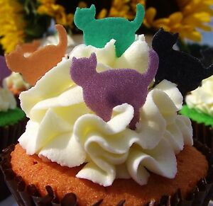 Details About Halloween Cake Decorations   Edible Stand Up Wafer Cats   Cat  Cake Toppers