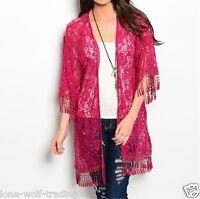 magenta Boho Hippie Gypsy Sheer Lace Sequins Crochet Fringe Kimono-k-cn219682