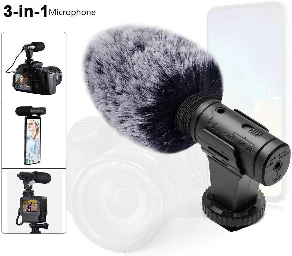 Interview Video Recording Camera Microphone for Nikon Canon DSLR Gopro Cellphone