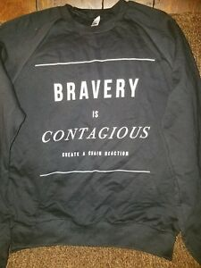 7c2fe7032 Details about Womens Black 'Bravery Is Contagious' American Apparel  Sweatshirt Size XS