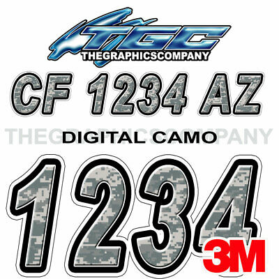 Green Camo Custom Boat Registration Numbers Decals Vinyl Lettering Stickers USCG
