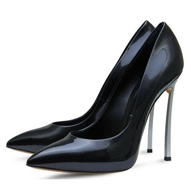 hommes dames femmes 5 haut talons 5 femmes relevé de minces couches de métal noir pumps plus taille 2 - 13 4bad6b