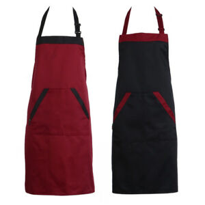 Unisex-Chef-Cooking-Kitchen-Catering-Halterneck-Apron-Bib-With-2-Pocket