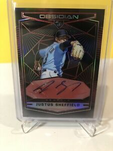 JUSTUS SHEFFIELD 2019 PANINI OBSIDIAN ELECTRIC ETCH RED AUTO #17/25