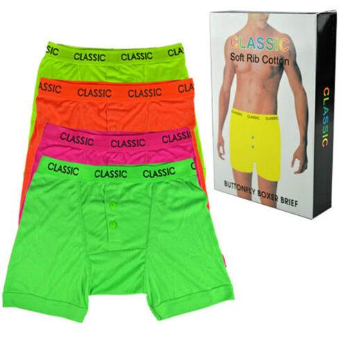 1 Pair Mens Cotton Soft Classic  Boxer Shorts Neon Black S-XXL  Gift Boxed