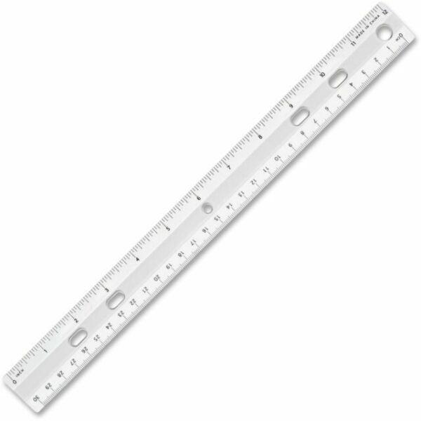 "Sparco Standard Plastic Ruler, 12"" Long, Holes For Binders"