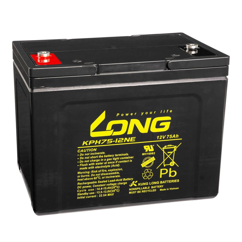 LONG Bleiakku KPH75-12NE 12V 75Ah VdS USV AGM GEL Blei Vlies Batterie zyklenfest