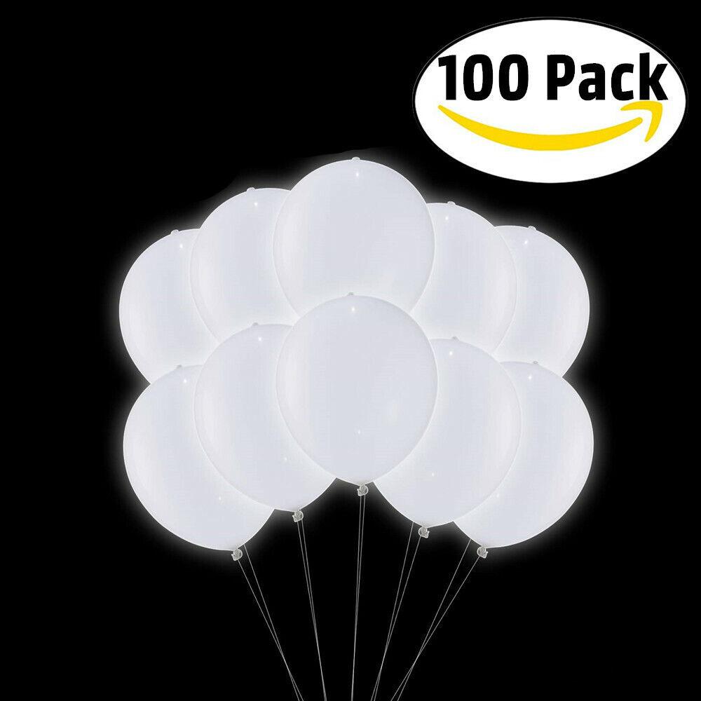 100 x LED Weiß Leuchtende Ballons Luftballons für Hochzeit Party Deko Geburtstag | Angemessener Preis  | Haltbarkeit