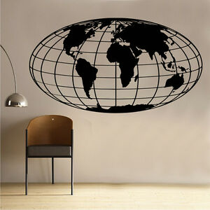 World map globe wall art sticker in15 ebay la imagen se est cargando globo de mapa mundial in15 pegatinas de pared gumiabroncs Images