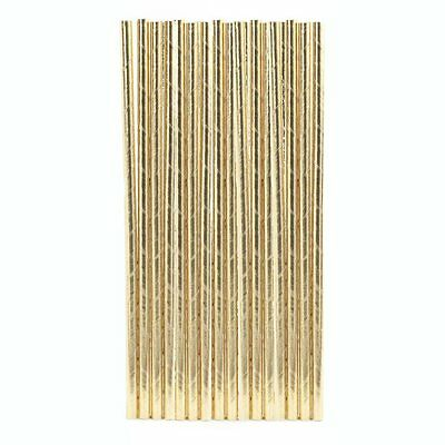 Kikkerland Metallic Gold Design Paper Straws - Box of 144