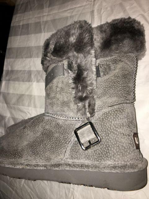 LAM gris daim fausse fourrure laine femme Confort Bottes D'Hiver Chaussures Taille 10 Style Moderne