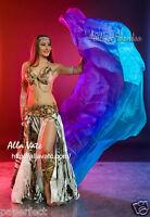 turquoise-blue-purple 3yd belly dance silk veil, light 5mm paj silk,edges rolled