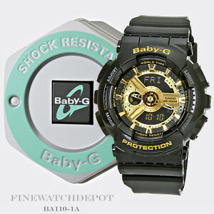 b12ee38afa24 Details about Authentic Casio Baby-G Women s Black   Gold Resin Strap  Digital Watch BA110-1A