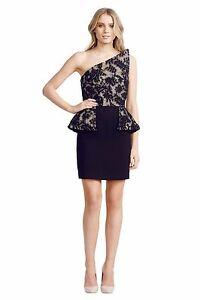 Alex-Perry-Monti-One-Shoulder-Dress-Black-Crochet-Nude-Size-12-RRP-649