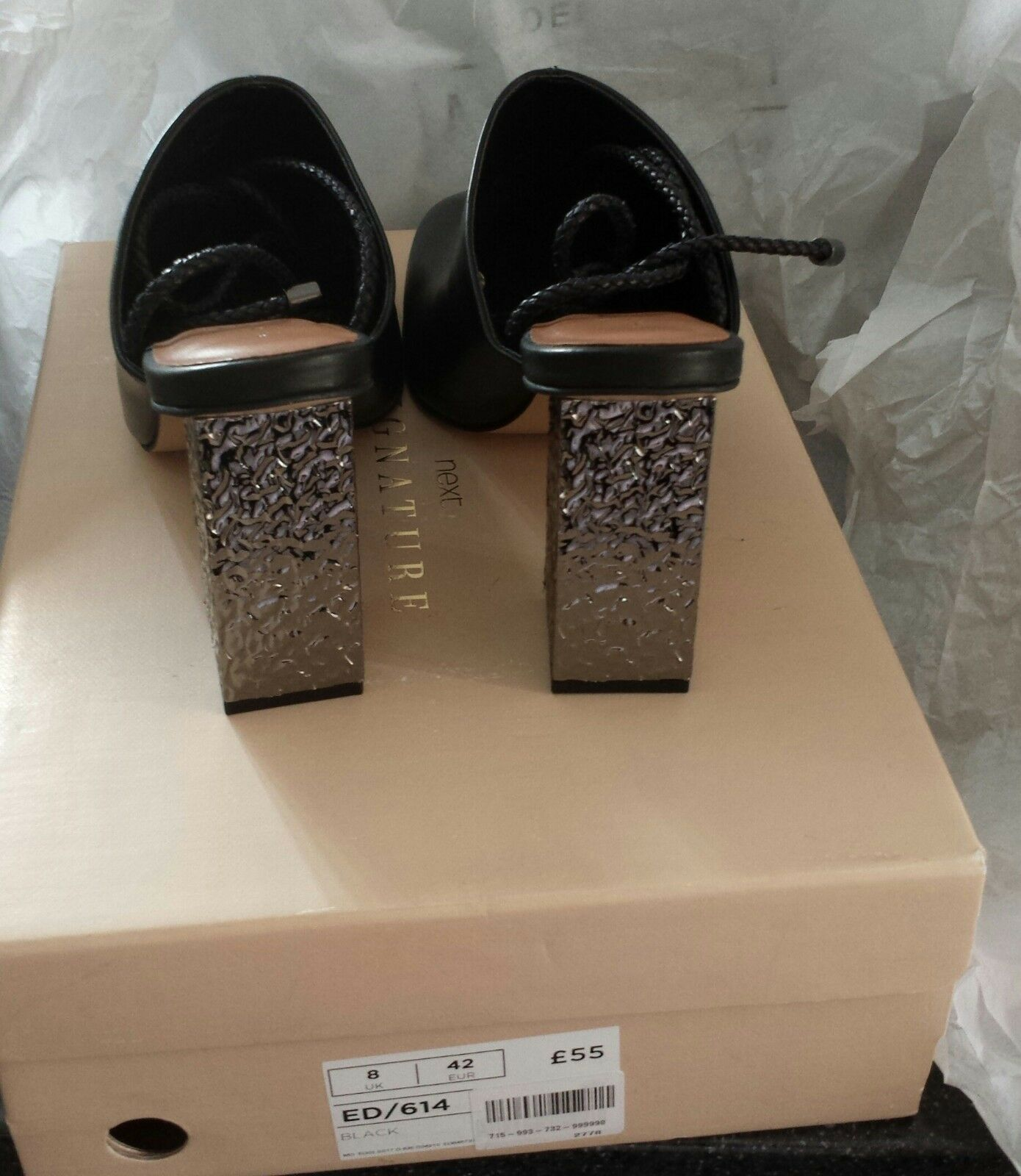 Black Leather Mules with with with  Tie Cords & Silver Heels  UK 8 (41) BNIB eafe34