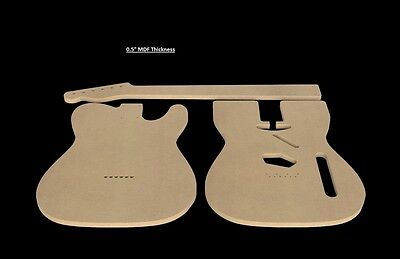 "Telecaster MDF Guitar Body and Neck Template 0.5"" thickness CNC made tele"