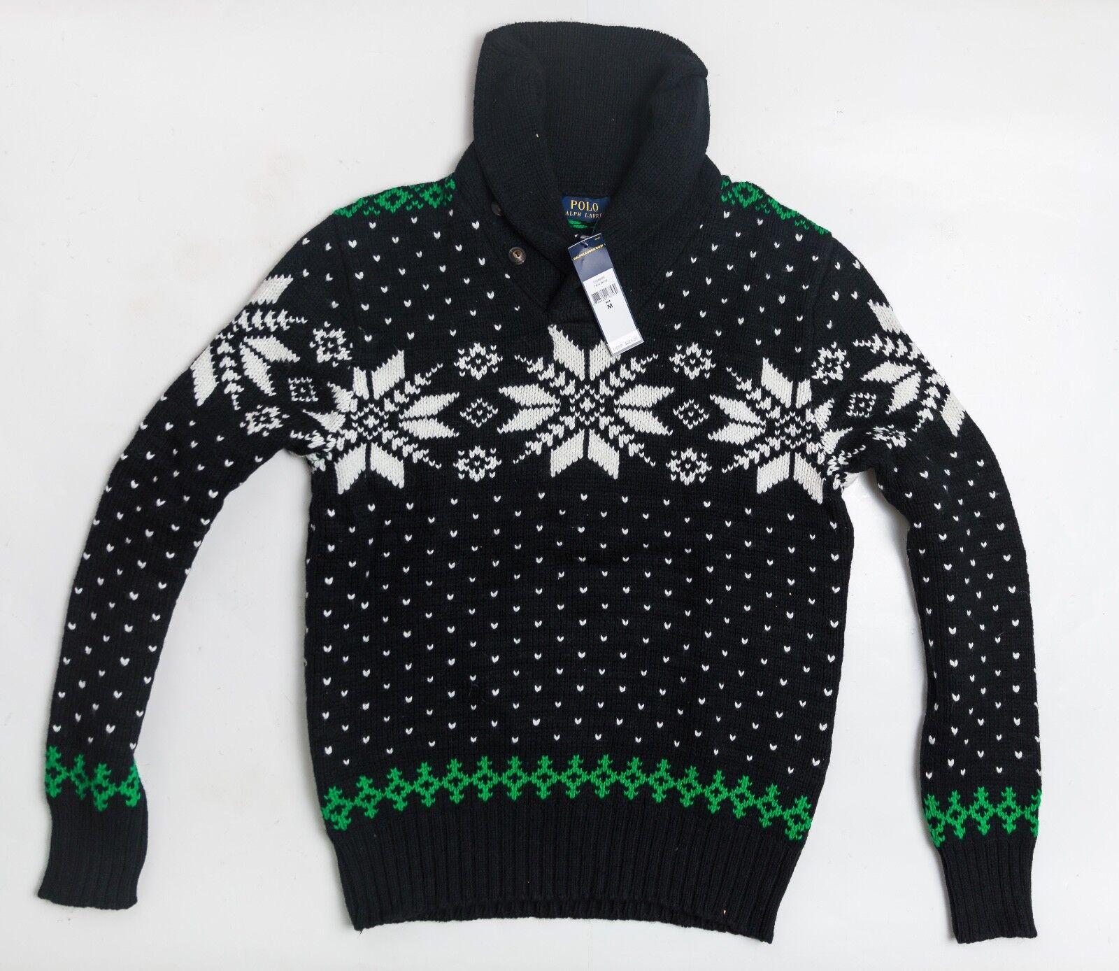 NWT Ralph Lauren Polo Snowflake  Herren Sweater M MEDIUM 225 Wool Blend Pullover