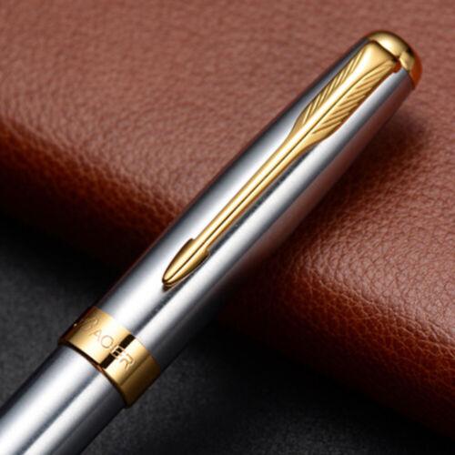Elegant Stainless Steel Business Medium Nib Fountain Pen Silver Golden Trim Nib