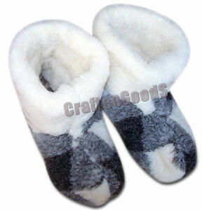 NATURAL SHEEP/'S WOOL Unisex Slippers UK Size 9