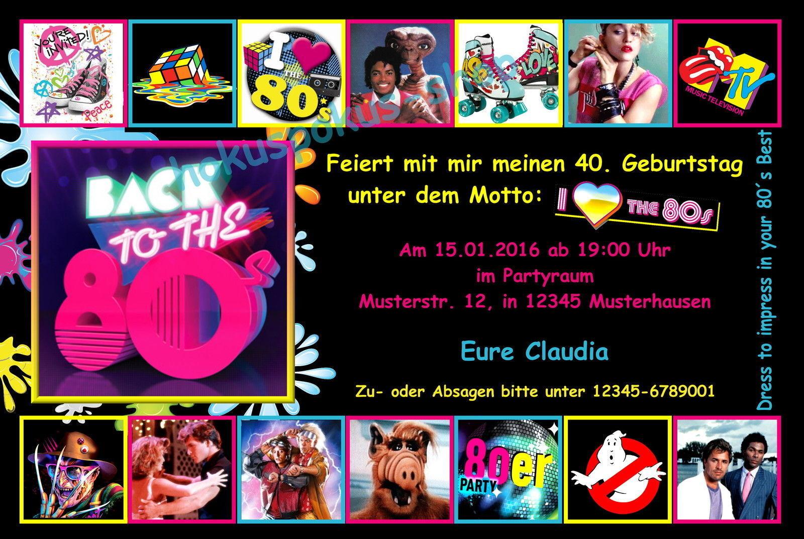 20 Einladungskarten Geburtstag Einladungen Geburtstagseinladungen 80s 80er Disco   | Einfach zu bedienen  | Berühmter Laden