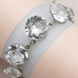 Vtg-Art-Deco-Open-Back-Openback-Graduating-Crystal-Glass-Necklace