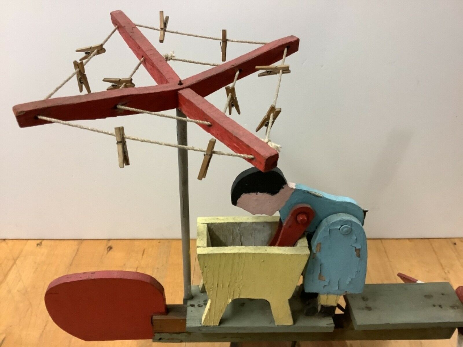 """Vintage Whirligig """"Woman Washing Clothes"""" In Working Order"""