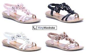 Floral-Diamante-Sandals-Elastic-Strap-Flat-Summer-Beach-Shoes-Size-Womens-Ladies
