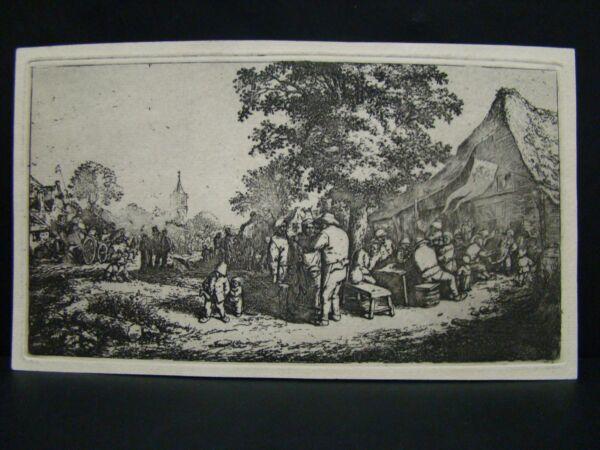 "A. Van Ostade - Acquaforte Orig. "" Kermesse Sotto Il Grande Albero "" Rembrandt"