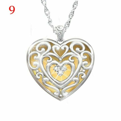 Rose Flower Heart Silver Plated Pendant Necklace Bib Choker Clavicle Chain