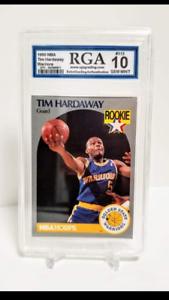 1990 NBA Hoops #113 Tim Hardaway RC Rookie Card RGA GRADED 10 GEM MINT NEW