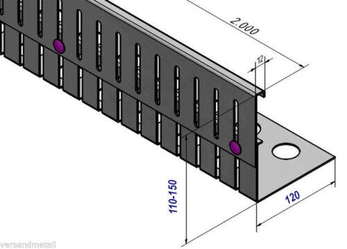 2 Winkelverb 12 mtr Aluminium Kiesfangleiste höhenverstellbar 110-150mm