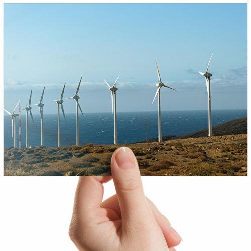 "White Wind Turbine Energy Small Photograph 6/"" x 4/"" Art Print Photo Gift #2289"