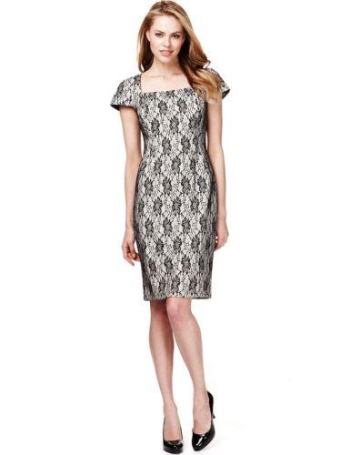 New M/&S Drop A Size Cream /& Black Floral Lace Dress Sz UK 22