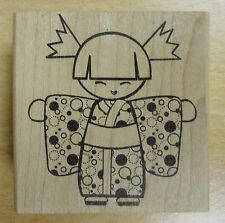 Kokeshi Big Hugs Girl Rubber Stamp - JudiKins