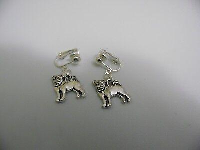 BRITISH BULLDOG Tibetan Silver SP Drop Earrings Patriotic Bull Dog