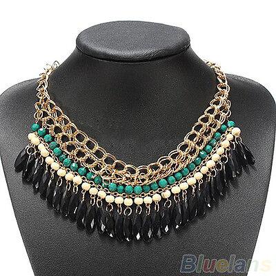 Boho Vintage Fashion Lots Layered Gem Beads Tassel Bib Choker Gold Necklace B8BU